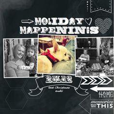 MDS Challenge- Chalkboard Art Kimberly Van Diepen Stampin' Up! Chalkboard Art Fonts, Chalkboard Ideas, Chalkboard Paint, Christmas Scrapbook Pages, Subway Art, Scrapbook Page Layouts, Digital Scrapbooking, Scrapbooking Ideas, Christmas Fun