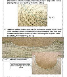 Ravelry: Cut and Sew Neckline Tutorial for knitting machine pattern by Yvonne Kadwell