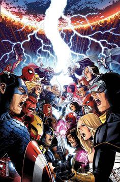 Captain America & Avengers vs Cyclops & X-Men by Jim Cheung
