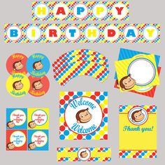 Curious George Birthday Party Printable Package By Mamamoonlights