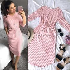 @thedarlingstyle Pink Striped Midi Dress / Spring Style/ Moda Modesta