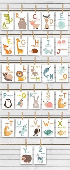 ♥️ Cheerful alphabet animal flash cards, full with handdrawn animals. Not only colorful and fun but also educational. A great way to learn words and alphabet letters from visual memory! Alphabet Activities, Learning Activities, Preschool Activities, Kids Learning, Learning Cards, Preschool Alphabet, Teaching Resources, Abc Cards, Alphabet Cards