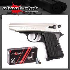 """Schreckschusspistole ME 9 Para - Metall Look inkl. 50 Platzpatronen """"shoot-club"""" 9mm P.A.K. / Kunststoff Griffstück    - weitere Informationen und Produkte findet Ihr auf www.shoot-club.de -    #shootclub #pistol #guns #Blankgun #ammunition"""