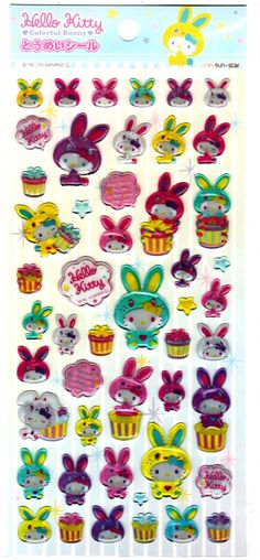 Sanrio+Japan+Hello+Kitty+Colorful+Bunny+Epoxy+Sticker+Sheet+by+Sun-Star+(A)+2010+Kawaii