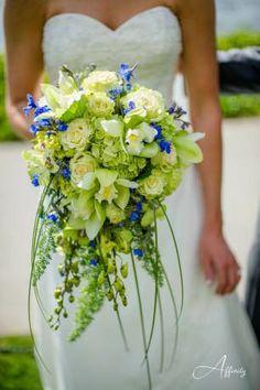 Bride bouquet with coral godetia instead of delphenium...white and tiffany blue hydrangea.  So pretty!