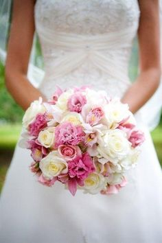 flowers by tina barrera by ten sixteen  pink and white roses, lisianthus and white orchids