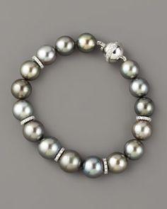 Assael Tahitian Pearl & Diamond Bracelet in Gray (black) Gems Jewelry, Pearl Jewelry, Jewelery, Jewelry Bracelets, Gemstone Bracelets, Ankle Bracelets, Pearl Bracelet, Diamond Bracelets, Tahitian Pearls