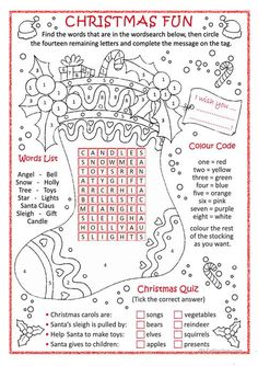 Christmas fun worksheet - Free ESL printable worksheets made by teachers English Christmas, Merry Christmas To All, Christmas Games, Christmas Activities, Christmas Colors, Kids Christmas, Christmas Crafts, Xmas, Christmas Puzzle