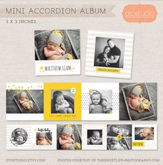 3x3 Mini Accordion Album Template - Newborn album template for photographers MA005 - INSTANT DOWNLOAD