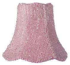 Glass Beads on Pink Fabric Clip-On Shade