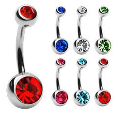 706   New Arrival Multicolor Sparkling Crystal  Single Navel Studs Belly Button Rings Body Piercing Jewelery   E3850