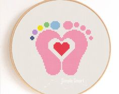 Baby Feet with Heart Silhouette Counted Cross Stitch Pattern