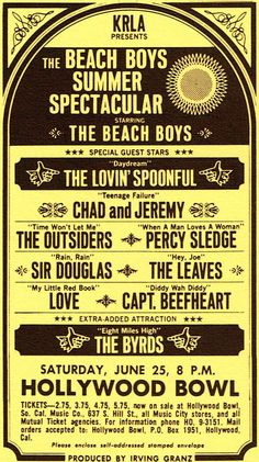 The Beach Boys at the Hollywood bowl Concert poster Tour Posters, Band Posters, Music Posters, Hippie Posters, Theatre Posters, Theater, Vintage Concert Posters, Vintage Posters, Led Zeppelin Concert
