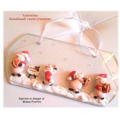 TARGA vetro fuoriporta natale maialini, by Valentina Handmadesweetcreations, 16,00 € su misshobby.com