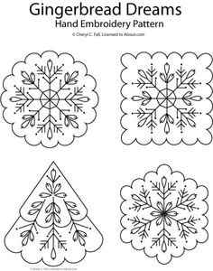 embroidery designs patterns Gingerbread Dreams Hand Embroidery Patterns - From Santa and snow to trees and stars, get ready for holiday stitching with these 10 free Christmas hand embroidery patterns. Embroidery Transfers, Embroidery Fabric, Hand Embroidery Patterns, Vintage Embroidery, Cross Stitch Embroidery, Embroidery Sampler, Machine Embroidery, Snowflake Embroidery, Embroidery Online