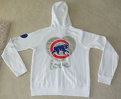 VICTORIA'S SECRET PINK CHICAGO CUBS BLING WHITE ZIP HOODIE - SIZE LARGE