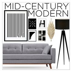 """Mid-Century Modern"" by jinokavian ❤ liked on Polyvore featuring interior, interiors, interior design, home, home decor, interior decorating, Adesso, Eleanor Stuart, Monde Mosaic and modern"
