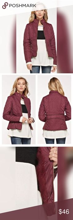💄 Quilted Padded Jacket in Wine! 😍Quilted padded jacket with pockets in wine.  Soft faux fur on the inside makes this the perfect option for fall evenings! Boutique Jackets & Coats