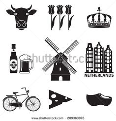 Netherlands icon set isolated on white background. Holland and Amsterdam symbols: wind mill, tulips, bicycle, beer. Template for travel design. Vector illustration. - stock vector