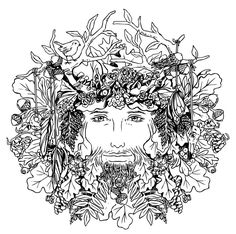 Printable Fun - The Green Man   GeekMom   Wired.com green man printable coloring page.  I'm pretending this is for the kids, but we all know who is going to be coloring this