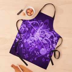 Music Notes, Black Tie, Print Design, Apron, Glow, Women's Fashion, Printed, Purple, Awesome