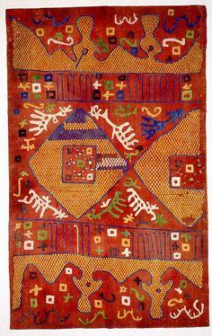 "Kaitag region, Daghestan. 18th century or earlier. ""Elk on Red"". Silk embroidery on cotton, 120 x 78 cm. Courtesy of: Textile Art Publicatio..."