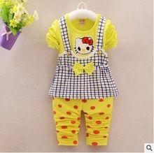 Spring Fall Baby Girl Clothing set Long Sleeve T Shirt + Dot Pants toddler girl clothing 9-24 christmas suit(China (Mainland))