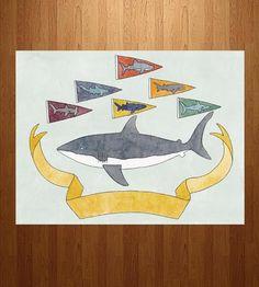 Shark Pennants Art Print