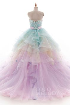 Help and guide for quinceanera dress! Looking Better Starts Off With These Fashion Suggestions Rainbow Colored Dresses, Colorful Prom Dresses, Pretty Quinceanera Dresses, Cute Prom Dresses, Ball Dresses, Pretty Dresses, Girls Dresses, Wedding Dresses, Rainbow Colors