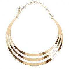 Punk Wide Metallic Mirror Mottle Necklace - GOLDEN Mobile