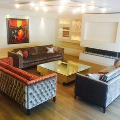 Stylish Bespoke Sofas in Contrasting Grey and Orange Fabric Custom Made by Zinc Interiors www.zinc-interiors.co.uk #DeepButtonedSofas #SofasMadeToOrder #BespokeSofasLondon #BespokeSofasEssex #BespokeSofasSuffolk