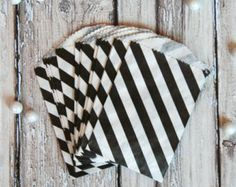 Mini Black Favor Treat Bags - Stripe - The TomKat Studio