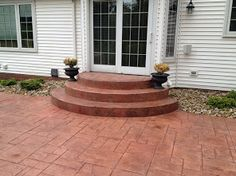 These are a set of half circle steps that we installed into the back patio of a Cleveland home. Patio Remodel, Concrete Steps, Home And Garden, Outdoor Decor, Circle Patio, Concrete, New Homes, Circle Stairs, Concrete Contractor
