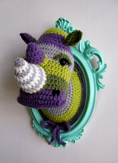 Crochet color block rhino head by ManafkaMina on Etsy
