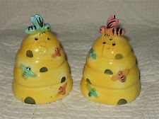 Vintage Enesco of Japan Ceramic Bee Hive Salt & Pepper Shaker Set