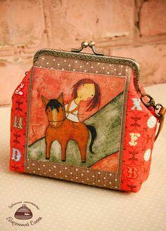 """Забавная мастерская: Маленькая сумочка с фермуаром """" Я люблю свою лошад..."""