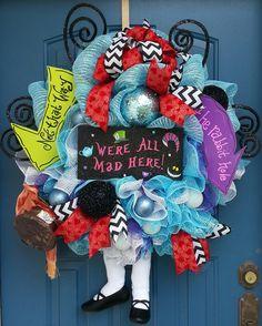 Halloween wreath Alice in Wonderland wreath by WonderfulWreathsKim, $149.00