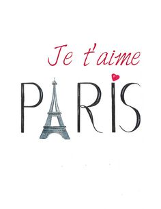 "This is a print from my original hand drawn watercolor and ink Eiffel tower and typography illustration. It reads: ""Je t'aime Paris""( I love you Paris)."