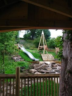 Crow Wood Playscape: small platform to get swing up to height on the hill
