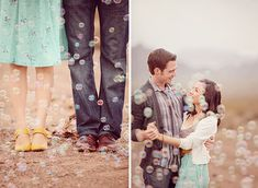 romantic engagement shoot, in the desert with bubbles