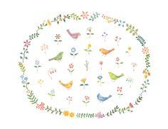 """Garden of Birds and Flowers"" −RiLi, picture book, illustration, design ___ ""鳥と花の庭"" −リリ, 絵本, イラスト, デザイン ...... #illustration #bird #garden #flower #イラスト #鳥 #庭 #花"