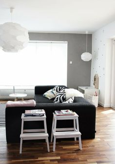 Simple white and Black living room