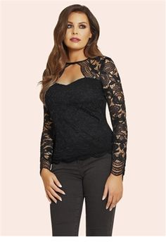 fdeab2cc277cb2 Jessica Wright Essie Black Lace Sweetheart Neckline Top £40.00 This  coquettish lace top features a