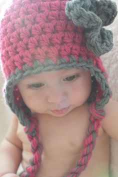 Hat earflap crochet newborn baby girl magenta / by LilypopBoutique