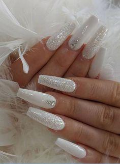 White Coffin Nails, Acrylic Nails Coffin Short, Best Acrylic Nails, White Nails With Glitter, Diamond Glitter, Long White Nails, White Stiletto Nails, Wedding Acrylic Nails, Silver Nail