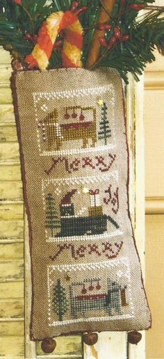 "HOMESPUN ELEGANCE - Merry Noel Collection ""Merry Meowies"" - Primitive Cross Stitch Pattern, Leaflet, Chart by Designer, Sandra Sullivan"