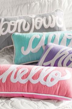 Hello Pillow from PBteen. Saved to Epic Wishlist. Shop more products from PBteen on Wanelo. Monogram Pillows, Cute Pillows, Diy Pillows, Throw Pillows, Accent Pillows, Decorative Pillows, Fluffy Pillows, My New Room, My Room