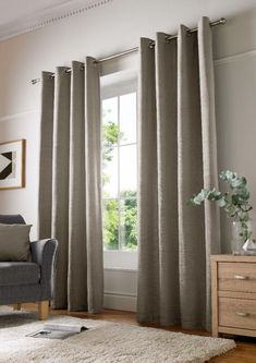 Bergman Eyelet Room Darkening Curtains Marlow Home Co. Colour: Latte, Size per Panel: 228 W x 182 D cm Made To Measure Blinds, Plain Curtains, Curtains Living Room, Charcoal Curtains, Curtains, Cream Curtains, Curtain Designs, Home Additions, Room