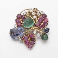 14K GOLD, DIAMOND AND COLORED STONE BROOCH, SEAMAN SCHEPPS | lot | Sotheby's
