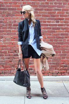 Madewell blazer   Chanel bag  Alice + Olivia shorts  Karen Walker sunglasses  Haute hippie blouse  Loeffler randall heels